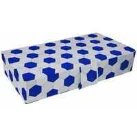 Folding Double Badenia Z Bed For Adult and Children, Travel Bed Mattress With Protective Travel Cover - Soccer Blue