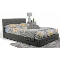 Bath Ottoman Gas Lift Fabric Storage Bed in Grey (Frame Only) - 4FT Small Double
