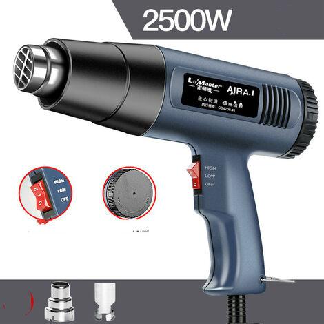 Pistolet thermique 230V 2500W 2 modes de température 60℃ -600 ℃ Le pistolet thermique avec 4 buses et grattoirs est utilisé pour peler, décongeler, peler et sécher la peinture.