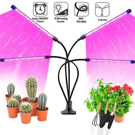 Lampes de croissance avec trépied, 80 Leds 4 Heads Lampe de Plante Spectre Complet avec deux contrôleurs pour plantes d'intérieur,timing 3/9/12H, réglable 11-61 pouces.