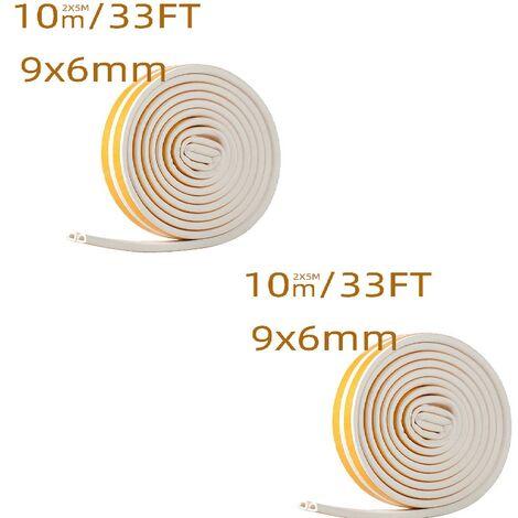 Bande de Joint 10 m × 2 Auto-adhésif Joint d'étanchéité de porte pour fenêtre Preuve de collision, 9x6mm(blanc)