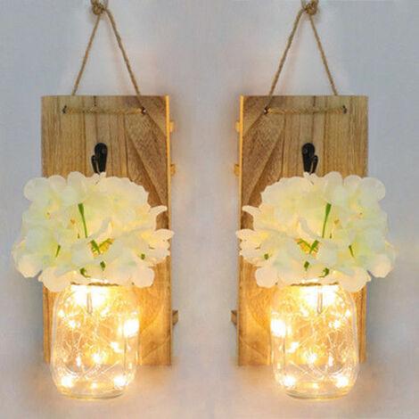 2Pcs Suspendu En Verre Mason Jars Led, Guirlande Lumineuse Decoration Murale Plante En Plastique Decoratives Interieur De Lumieres,