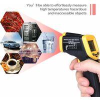 -58°F~ 932°F Thermomètre Infrarouge à Main Sans Contact, Affichage LCD, Thermomètre Numérique Cuisine, Thermomètre Industriel IR Thermomètre à Pyromètre, -50~600 ° C (PAS pour les humains)