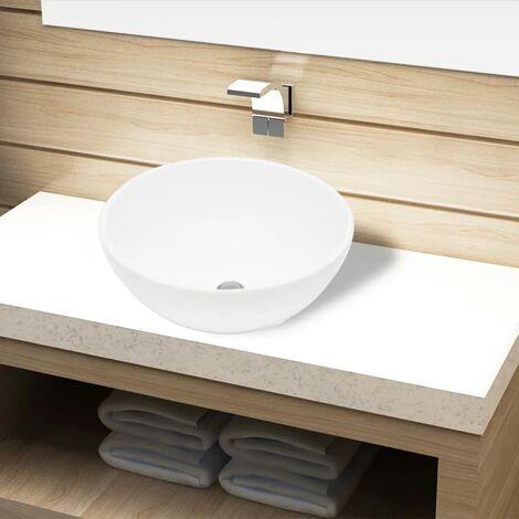 Lavabo de cuarto de baño redondo cerámica blanco - Blanco