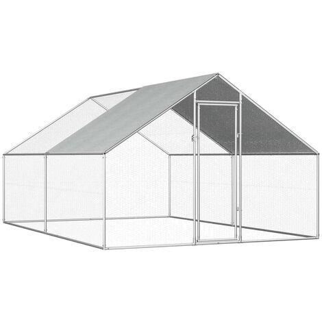 Jaula gallinero de exterior de acero galvanizado 2,75x4x1,92 m - Plateado