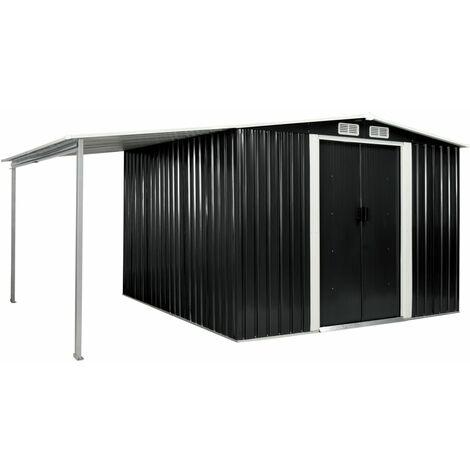 Cobertizo jardín puertas correderas acero gris 386x259x178 cm - Gris