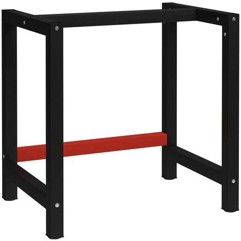Estructura de banco de trabajo metal negro y rojo 150x57x79 cm - Negro
