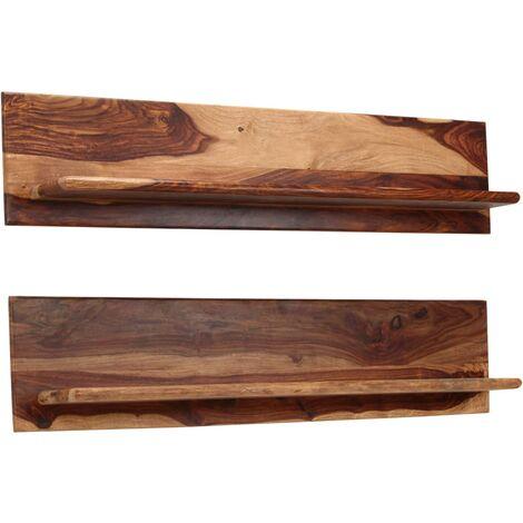 Estantes de pared 2 uds madera maciza de sheesham 118x26x20 cm - Marrón
