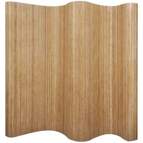 Biombo divisor bambú natural 250x165 cm - Marrón