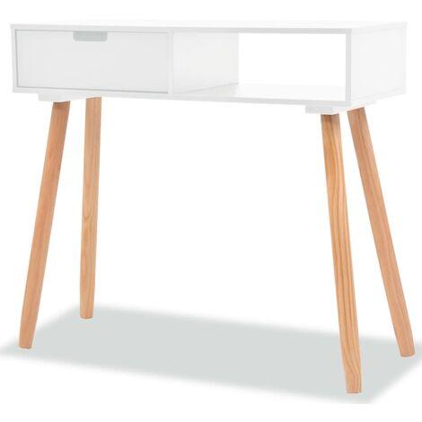 Mesa consola de madera maciza de pino blanca 80x30x72 cm - Blanco