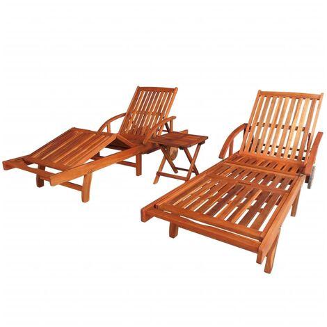 Tumbonas 2 unidades y mesita madera maciza de acacia - Marrón