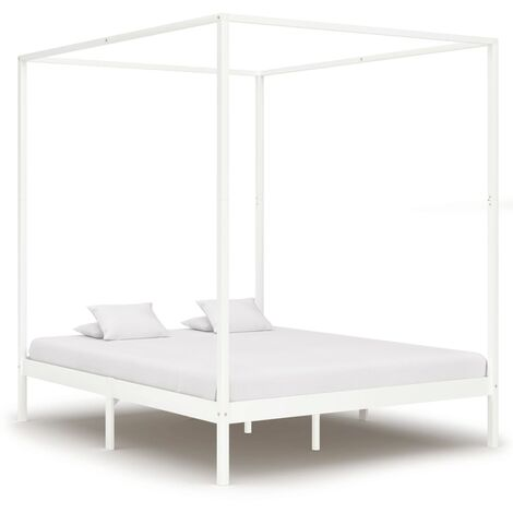 Estructura cama con dosel madera maciza pino blanco 160x200 cm - Blanco