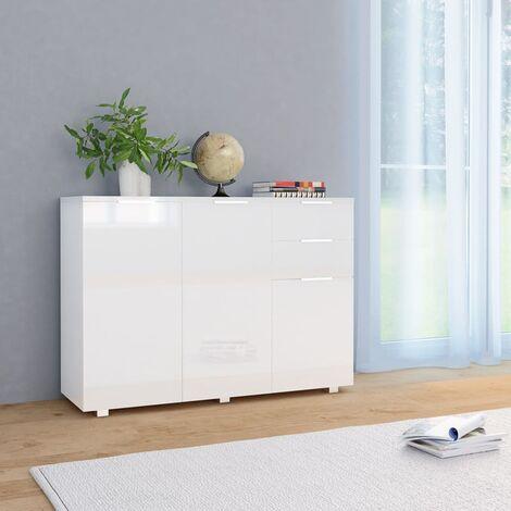 Aparador blanco brillante 107x35x76 cm - Blanco