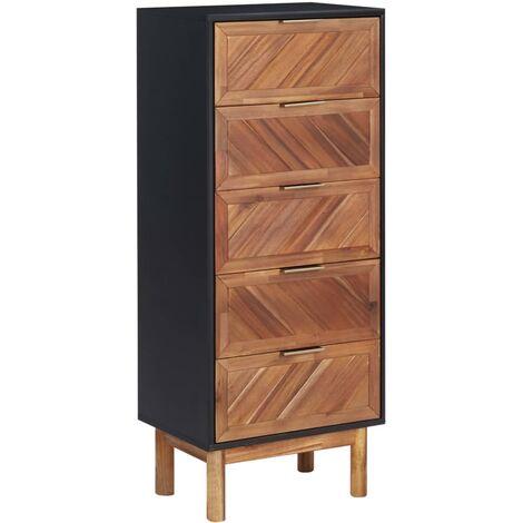 Aparador de madera maciza de acacia y MDF 45x32x115 cm - Marrón