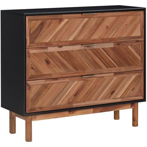 Aparador de madera maciza de acacia y MDF 90x33,5x8 cm - Marrón