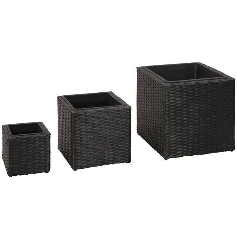 Conjunto de arriates de ratán sintético negro 3 piezas - Negro