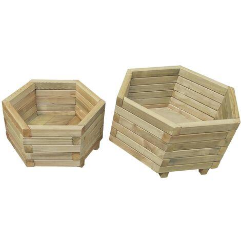Juego de arriates 2 unidades madera de pino impregnada - Marrón