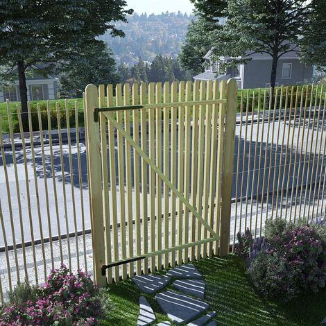 Puerta de valla postes madera de pino impregnada 100x150 cm - Marrón
