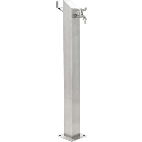 Columna de agua para jardín acero inoxidable cuadrada 95 cm - Plateado