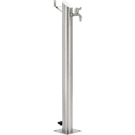 Columna de agua para jardín acero inoxidable redonda 95 cm - Plateado