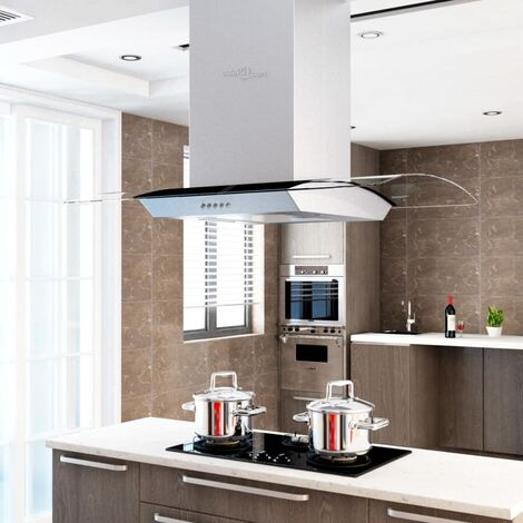 Campana extractora de techo 90 cm acero inoxidable 756 m³/h LED - Plateado