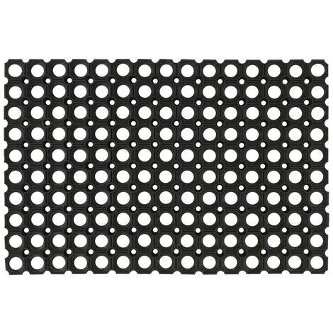 Felpudo de goma 16 mm 60x80 cm 2 unidades - Negro