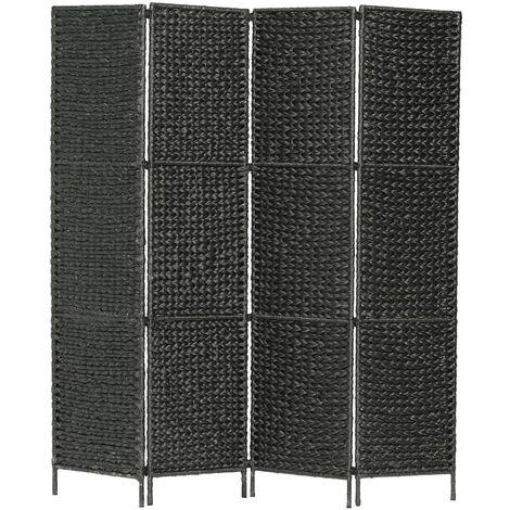 Biombo divisor 4 paneles jacinto de agua negro 154x160 cm - Negro