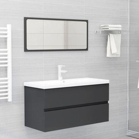 Conjunto de muebles de baño 2 piezas aglomerado gris - Gris