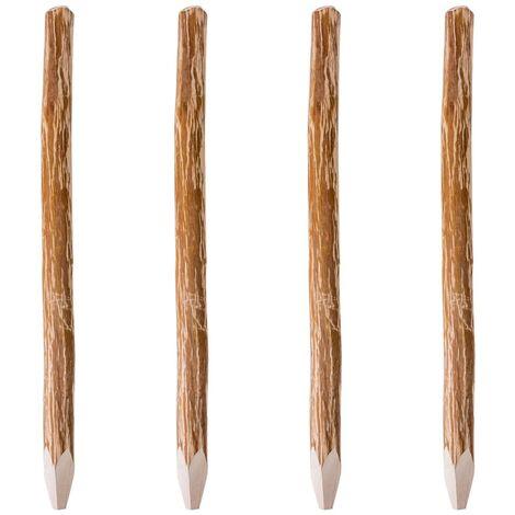 Postes de valla puntiagudos 4 uds madera de avellano 150 cm - Marrón