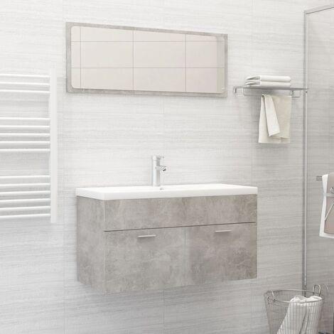 Conjunto de muebles de baño 2 piezas aglomerado gris hormigón - Gris