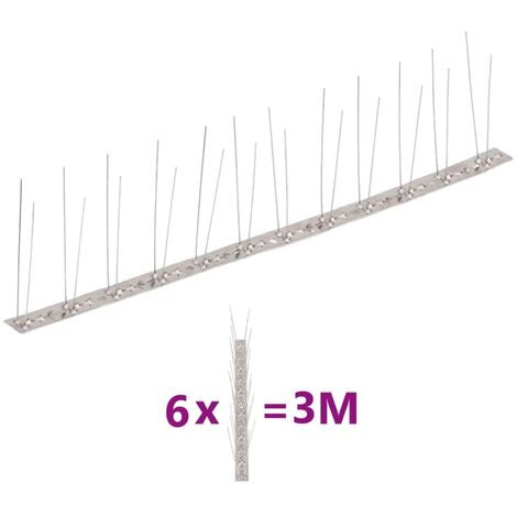 Set de 6 hileras pinchos contra pájaros y palomas 2 filas 3 m