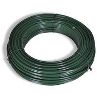 Valla tela metálica con postes acero verde 1x25 m - Verde