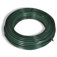 Valla tela metálica y postes acero verde 1,25x25 m - Verde