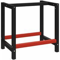 Banco de trabajo estructura metal negro y rojo 150x57x79 cm - Negro