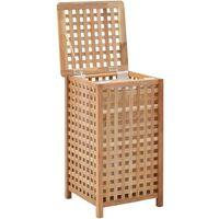 Cesto para ropa sucia madera maciza de nogal 39x39x65 cm - Marrón