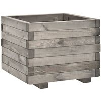 Jardinera de madera de pino maciza 50x50x40 cm - Gris