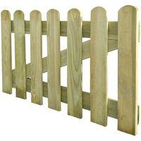 Puerta de valla de jardín madera 100x60 cm - Marrón