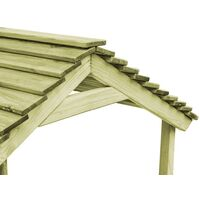 Casa de juegos de jardín con cajón de arena madera de pino - Marrón