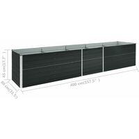 Arriate de acero galvanizado gris antracita 400x80x45 cm - Antracita