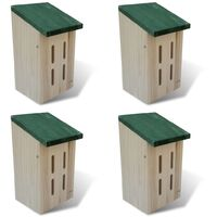 Set 4 cajas nido-refugio para mariposas, 14 x 15 x 22 cm - Marrón