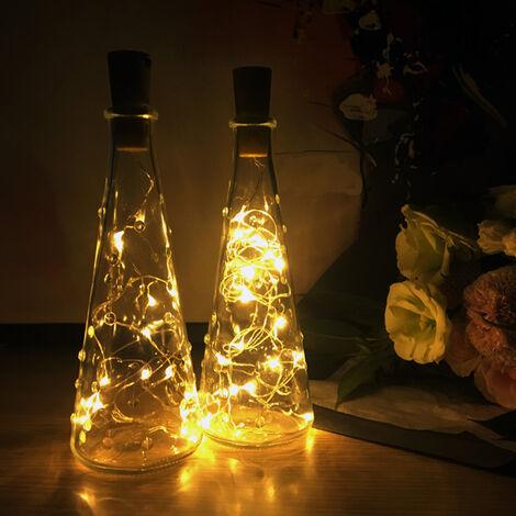 10er 2m Lichterkette Stimmungslichter Weinflasche Kupferdraht für DIY Dekor DE