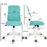 Chaise de bureau Ergonomique Chaise pivotante avec accoudoirs pliants Vert - Vert