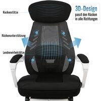 Chaise de bureau Dossier Haut grillagée Chaise à hauteur réglable Soutien lombaire avec repose-pieds Noir et blanc - Noir&Blanc