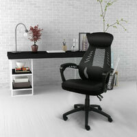 Chaise de bureau Dossier Haut grillagée Chaise à hauteur réglable Soutien lombaire Noir - Noir