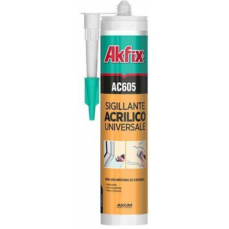 Akfix - Silicone bianco acrilico cartuccia verniciabile ML.310