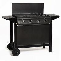 LOFOTEN - Barbecue / Plancha à gaz pour extérieur 4 brûleurs avec Chariot à Roulettes - Puissance totale 14 kW - Noir