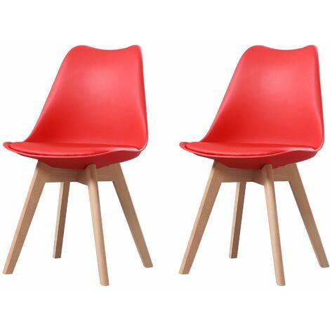 CLARA - Lot de 2 chaises scandinave - Rouge - pieds en bois massif design salle à manger salon chambre - 49 x 58 x 82 cm - Rouge