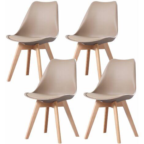 """main image of """"CLARA - Lot de 4 chaises scandinave - Taupe - pieds en bois massif design salle à manger salon chambre - 49 x 58 x 82 cm - Taupe"""""""