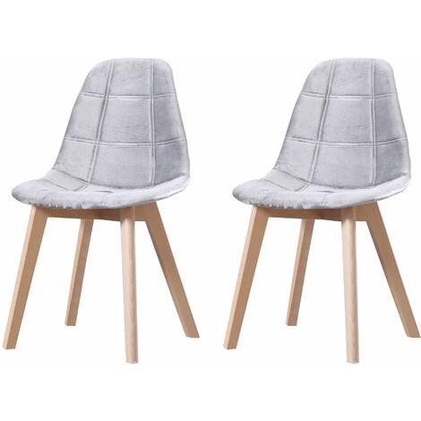 CANDICE - Lot de 2 chaises scandinave - Velours - Gris Clair - pieds en bois massif design salle a manger salon - 50 x 46 x 83 cm - Gris Clair