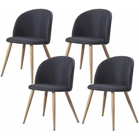 MAEVA - Lot de 4 chaises scandinave - Tissu -  Noir - pieds en métal design salle a manger salon - 52 x 48 x 79 cm - Noir